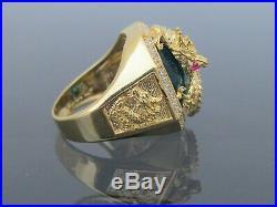 18K Solid Gold London Blue Topaz, Ruby & White Topaz Dragon Men's Ring Size 9.25