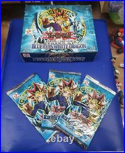 1996 Original Yugioh Legend of Blue Eyes White Dragon Booster Packs (3) + Box