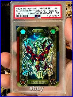 1999 Yu-Gi-Oh! Japanese Bandai Sealdass Blue Eyes White Dragon's 3 Body PSA 10
