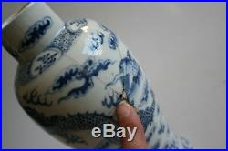 2 Pcs Antique Chinese Porcelain Blue and White Dragon Vase with Lid Marks