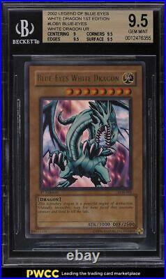 2002 Yu-Gi-Oh Blue Eyes White Dragon 1st Edition #LOB1 BGS 9.5 GEM MINT