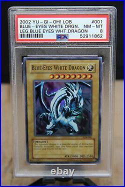 2002 Yu-Gi-Oh! Blue-Eyes White Dragon LOB-001 Legend of Graded NM-MT PSA 8