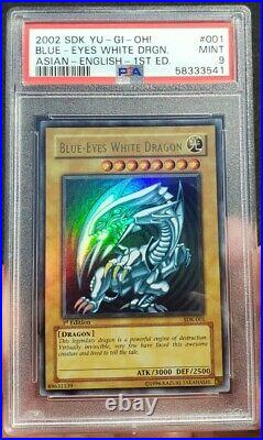 2002 Yu-Gi-Oh Blue Eyes White Dragon PSA 9 1st Edition Asian-English SDK-001