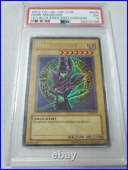 2002 Yu-Gi-Oh! LOB 005 Legend of Blue Eyes White Dragon Dark Magician PSA 5 EX