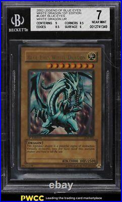 2002 Yu-Gi-Oh Legend of Blue Eyes 1st Ed Wavy Blue Eyes White Dragon #LOB1 BGS 7