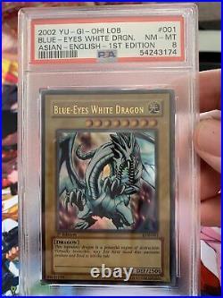 2002 Yu-gi-oh! 1st Edition LOB-001 Blue Eyes White Dragon Psa 8 NM-Mint