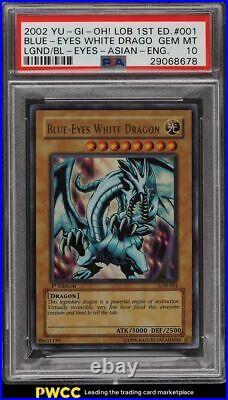 2002 Yugioh Asian English 1st Edition Blue Eyes White Dragon LOB-001 PSA 10 GEM