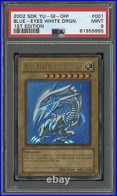 2002 Yugioh Blue-Eyes White Dragon SDK-001 1st Edition Ultra Rare Mint PSA 9