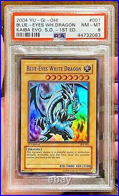 2004 Yu-Gi-Oh! BLUE-EYES WHITE DRAGON 1st Edition SKE-001 Super Rare PSA 8 NM-MT