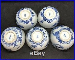 5 Chinese 19th Century Porcelain Blue and White Dragon Rice Bowls Bleu de Hue