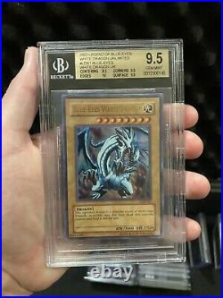 BGS 9.5 GEM MINT Blue-Eyes White Dragon LOB-001 Ultra Rare QUAD+ PSA 10