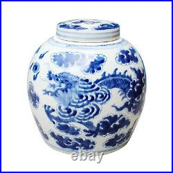 Beautiful Blue and White Porcelain Ginger Jar Dragon Motif 9 with Lid
