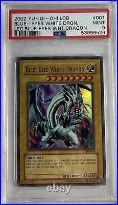 Blue Eyes White Dragon LOB-001 Ultra Rare Yugioh PSA 9 Mint