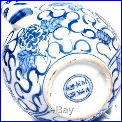 Chinese Blue & White Porcelain Teapot Multiple Dragons Flowers Signed with Lid