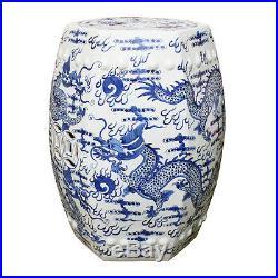 Chinese Blue and White Porcelain Garden Stool Hexagonal Dragon Motif 18