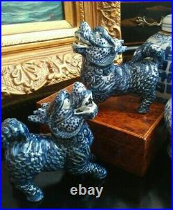 Gorgeous Blue White Chinoiserie Porcelain Qilin Foo Dog Dragon Lion Mantle Pair