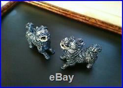 Gorgeous Blue/White Porcelain Qilin Pair Chinoiserie Figurines Foo Dog Dragon