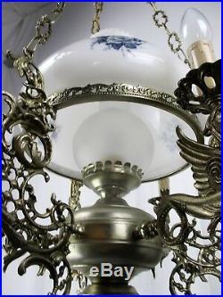 Gothic Dragons Delft Blue White Porcelain chandelier Hanging Lamp 4 Lights HTF