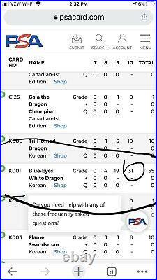 PSA 10 Yu-gi-oh! Yugioh Ultra LOB Blue-Eyes White Dragon GEM MINT Korean POP 31