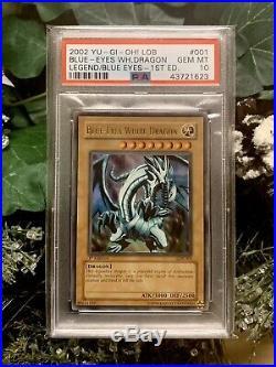PSA 10 YuGiOh Blue Eyes White Dragon LOB-001 1st Edition North American X3 Kaiba