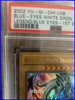 PSA 9 Yu-Gi-Oh! Legend of Blue-Eyes Blue-Eyes White Dragon LOB-001 1st Ed