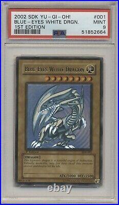 PSA 9 Yugioh 1st Edition Ultra Rare Blue-Eyes White Dragon SDK-001 MINT
