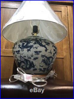Ralph Lauren Lanp And Shade Large Oriental Dragon Porcelaine Blue White RRP £595