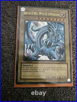 Rare 1st Edition Holographic Blue-Eyes White Dragon Yugioh Card