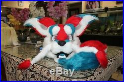 Red, blue and white Dragon Collie dog fursuit costume head and tail BRAND NEW