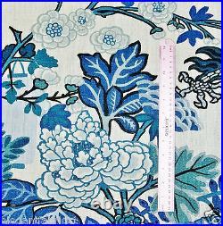 Schumacher Chinoiserie Chiang Mai Dragon Fabric 10 Yards Blue White Multi