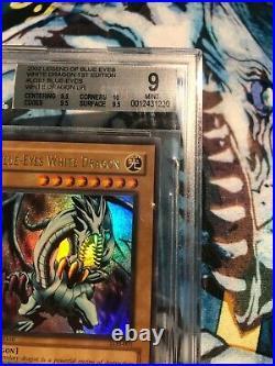 VERY HIGH SUBS Yu-Gi-Oh Blue Eyes White Dragon 1st Edition LOB-001 BGS 9 PSA