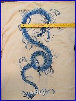 Vintage Japanese Womens Silk Embroidered Kimono Robe White/Cream withBlue Dragon
