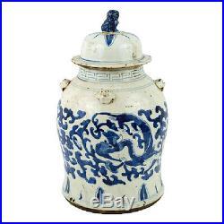 Vintage Style Blue and White Brush Stroke Dragon Motif Porcelain Temple Jar 19
