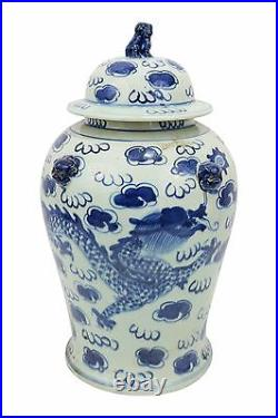Vintage Style Blue and White Chinese Porcelain Temple Jar Dragon Motif 18