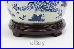 Vintage Style Blue and White Dragon Motif Porcelain Ginger Jar Table Lamp 29