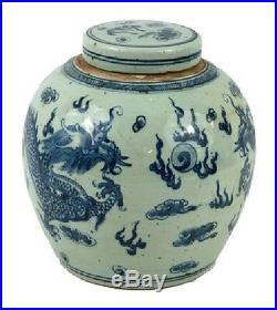 Vintage Style Blue and White Porcelain Lidded Ginger Jar Dragon Motif 10