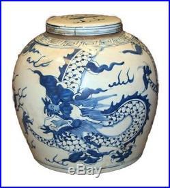 Vintage Style Blue and White Porcelain Lidded Ginger Jar Dragon Motif 9
