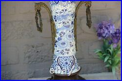 XL Antique delft blue white pottery Dragon gothic Candelabras candle holder