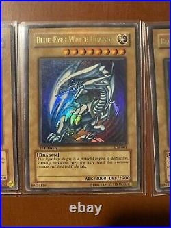 Yu-Gi-Oh! 2002 3x Playset Blue-Eyes White Dragon SDK-001 NA 1st Edition Lp-mp