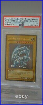 Yu-Gi-Oh! Blue-Eyes White Dragon 2002 SDK-E001 1st Edition PSA 10, Europe