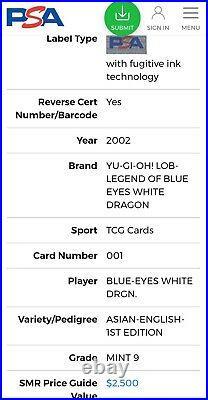 Yu-Gi-Oh Blue-Eyes White Dragon English 1st LOB-001 MT PSA9 KONAMI 2002