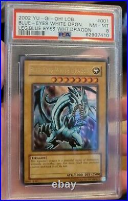 Yu-Gi-Oh! Blue-Eyes White Dragon LOB-001 Unlimited Ultra Rare PSA 8