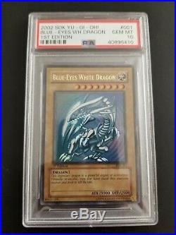 Yu-Gi-Oh! PSA 10 Blue-Eyes White Dragon SDK-001 1st Edition GEM MINT BEWD