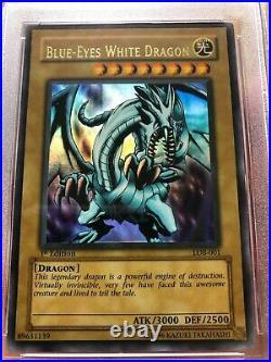Yu-Gi-Oh PSA 4 Wavy 1st Edition First Blue-Eyes White Dragon LOB-001 NA English
