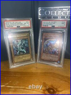 Yu-gi-oh Lob-001 Blue Eyes White Dragon Psa 8 Dark Magician Girl Mfc-000 Psa 9