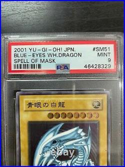 YuGiOh PSA 9 MINT SM-51 Ultimate Rare Blue Eyes White Dragon Japanese Spell of M