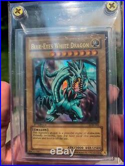 Yugioh Blue Eyes White Dragon LOB-001 1st Edition NORTH AMERICAN Wavy Print