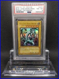 Yugioh Blue Eyes White Dragon (LOB-E001) 1st Edition Europe PSA 8 NM-MT