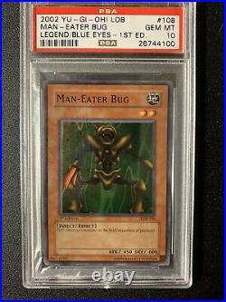 Yugioh Man-Eater Bug 1st Edition PSA 10 LOB-108 Legend Of Blue Eyes White Dragon