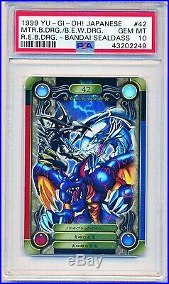 Yugioh PSA 10 Red-Eyes Blue-Eyes White Dragon BANDAI SEALDASS Japanese